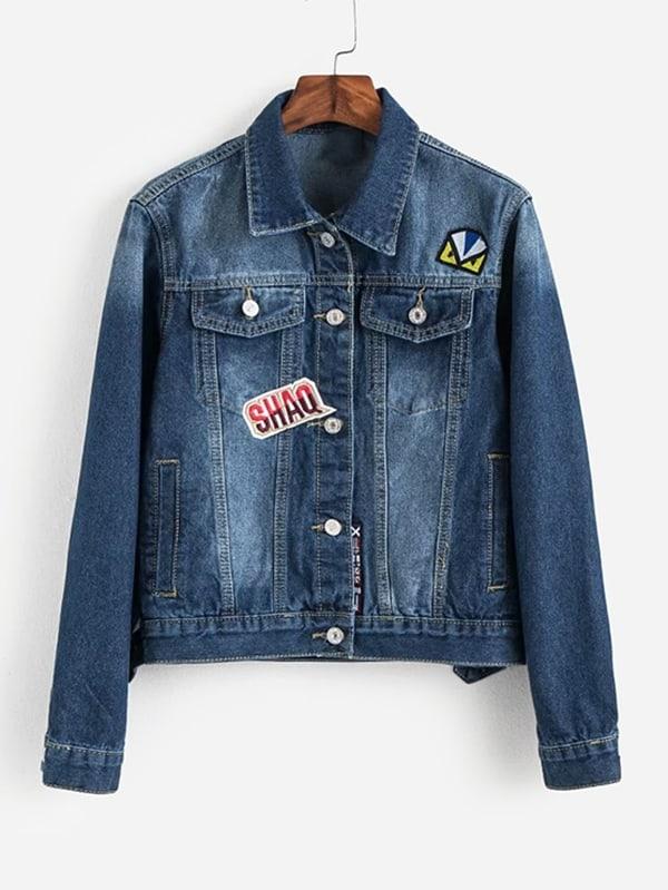 Embroidered Patch Denim Jacket patch design distressed denim jacket