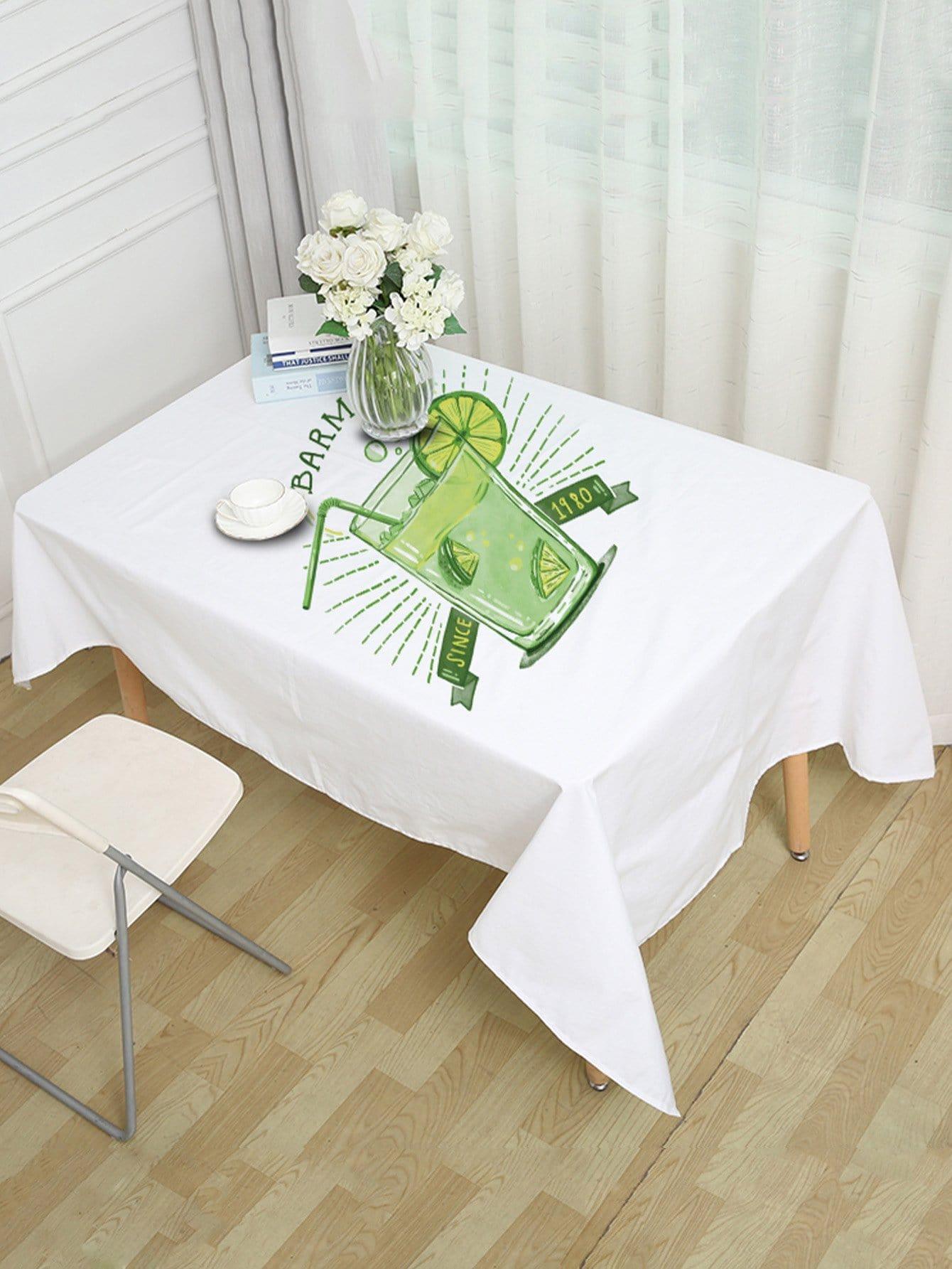Lemon Tea Print Table Cloth free shipping stainless steel toughened glass tea table small tea table