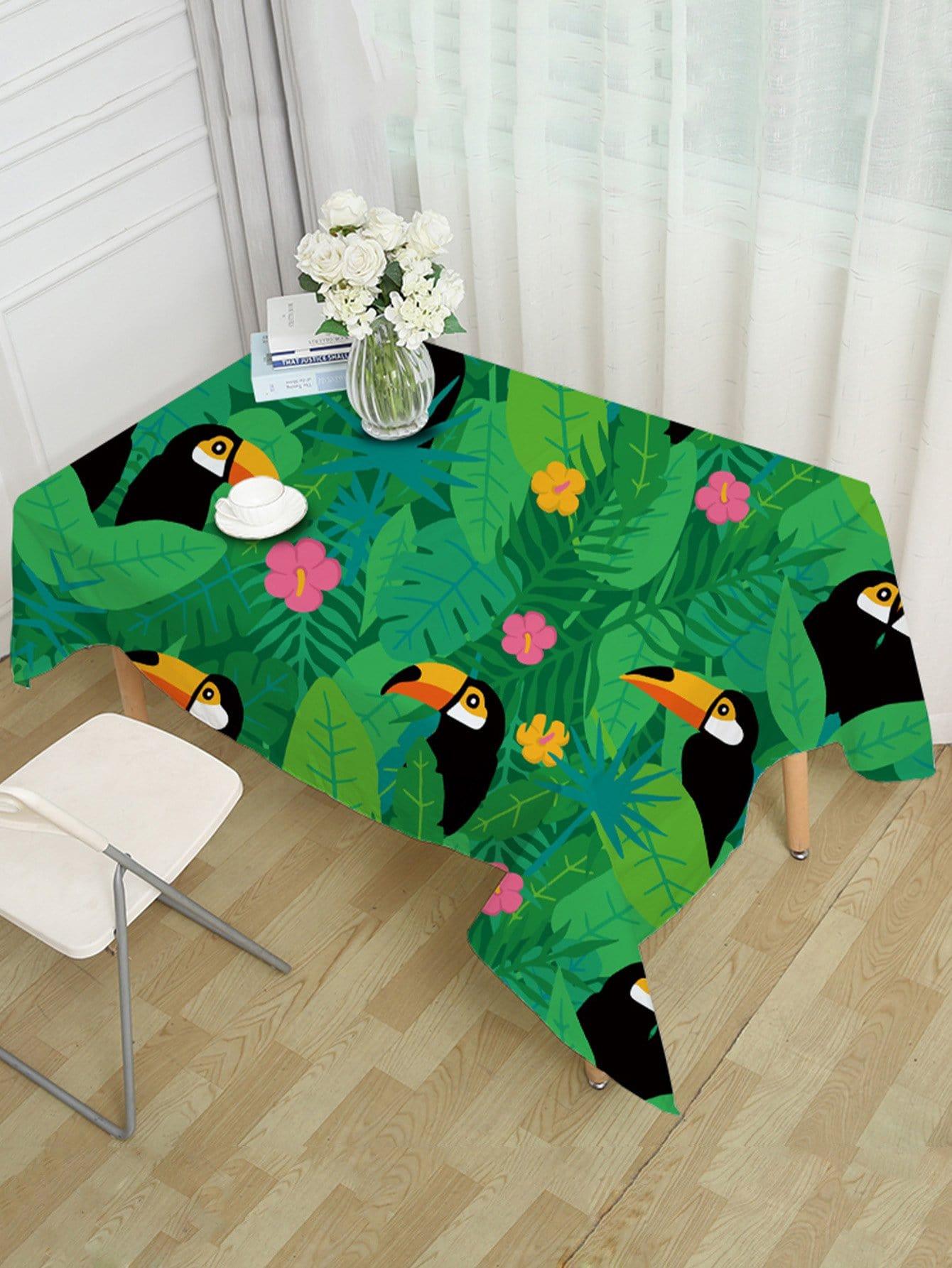 Floral & Birds Print Table Cloth