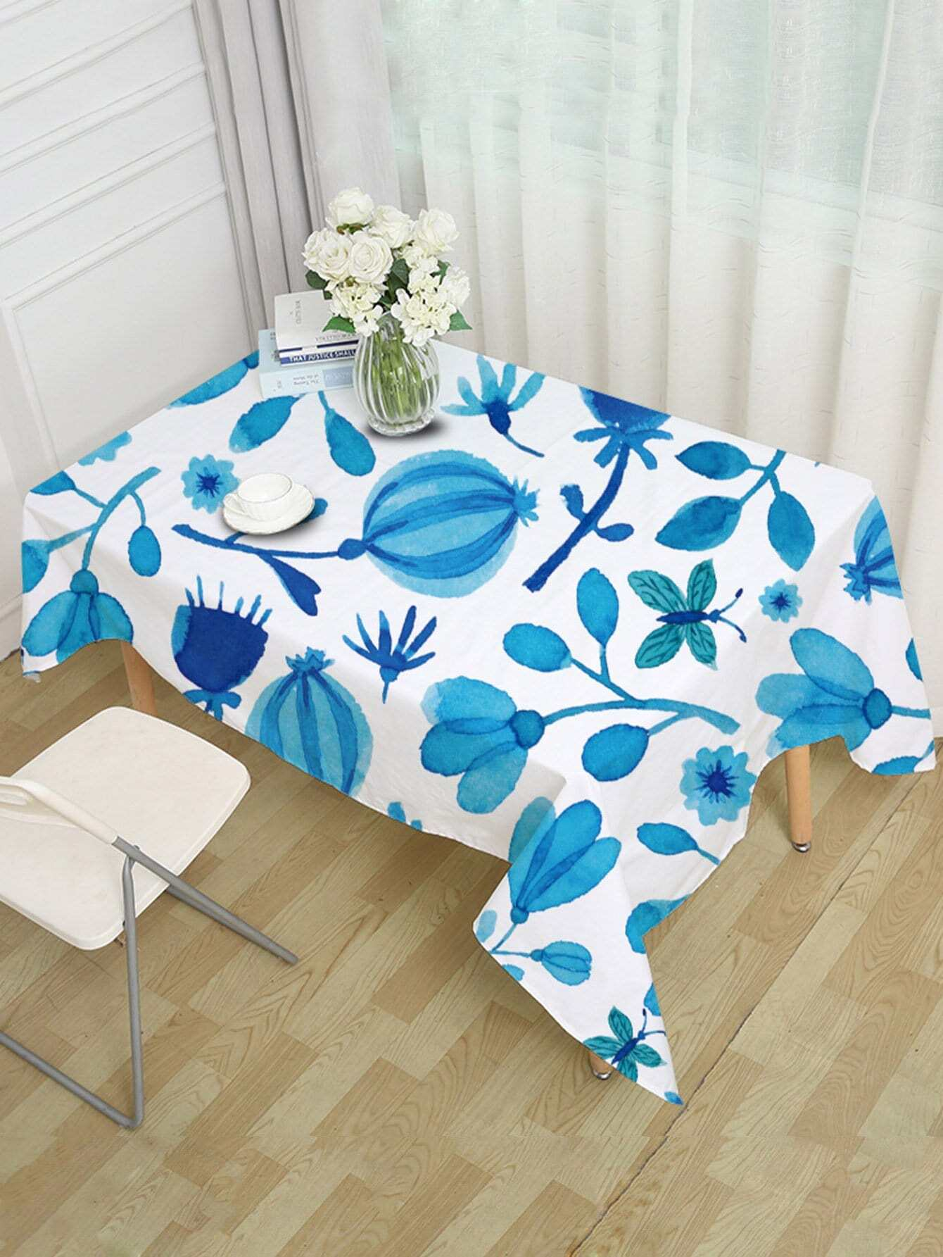 Floral & Butterfly Print Table Cloth