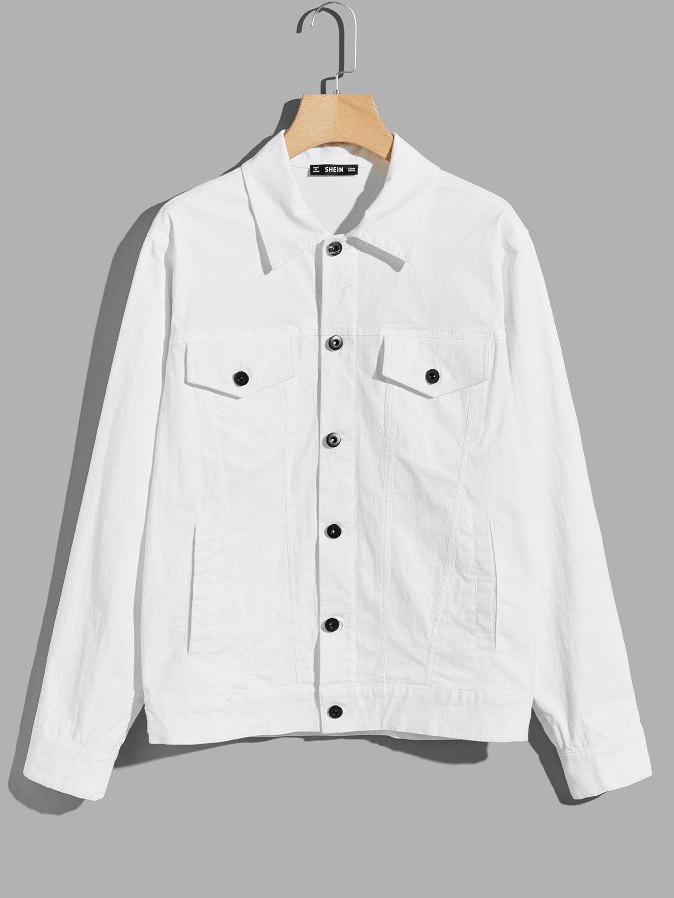 Купить Мужская карманная рубашка с рубашкой, null, SheIn