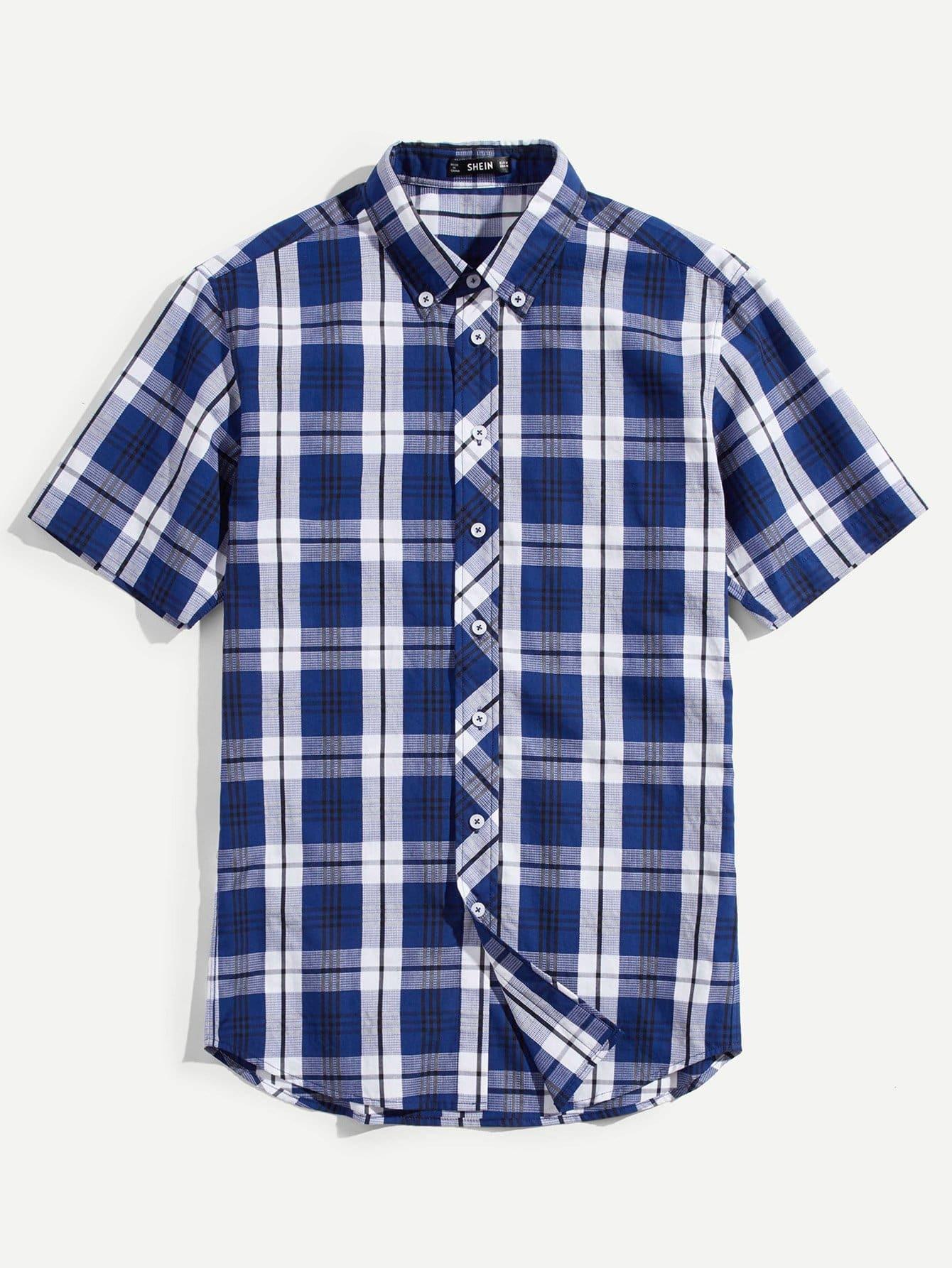 Купить Мужская кнопка Up Plaid Curved Hem Shirt, null, SheIn