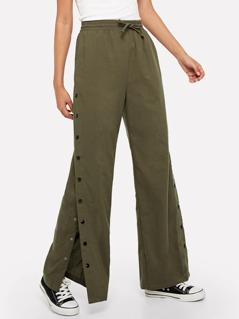 Snap Button Side Wide Leg Pants
