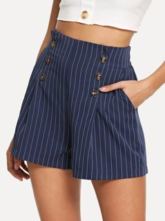 Double Button Striped Shorts