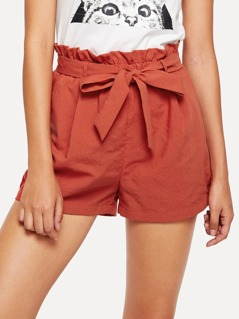 Frill Trim Tie Waist Shorts