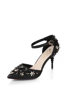 Flower Applique Ankle Strap Heels