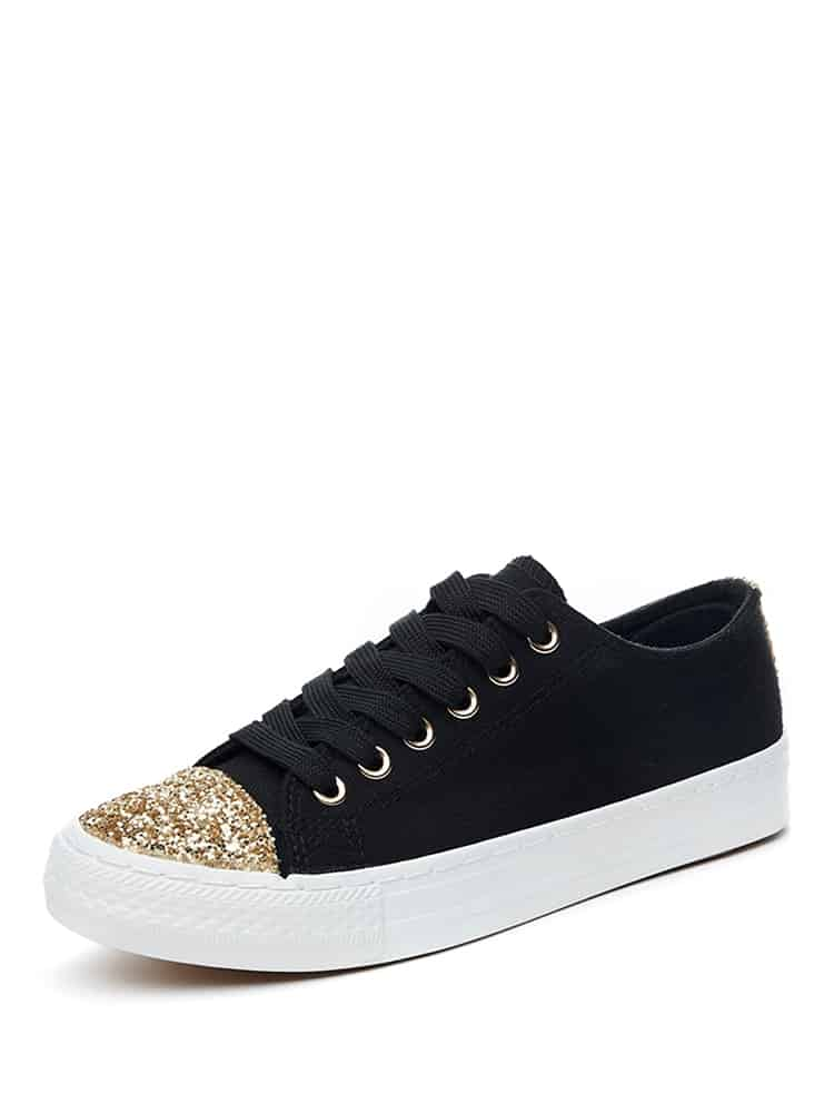 Contrast Cap Toe Lace-Up Sneakers