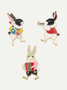 Rabbit Design Brooch Set 3Pcs