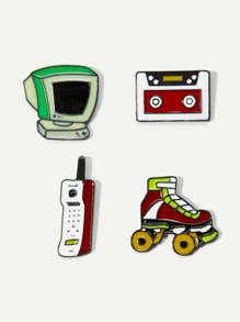 TV & Skates Design Brooch Set 4Pcs