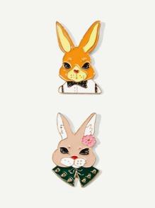 Animal Design Brooch Set 2Pcs