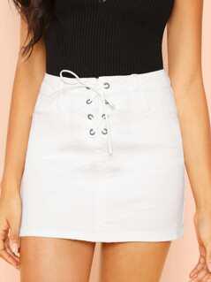High Rise Lace Up Denim Mini Skirt