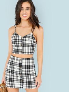 Checker Print Crop Cami Top and Mini Skirt Set