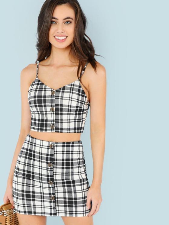 a4d81ebb47 Checker Print Crop Cami Top and Mini Skirt Set