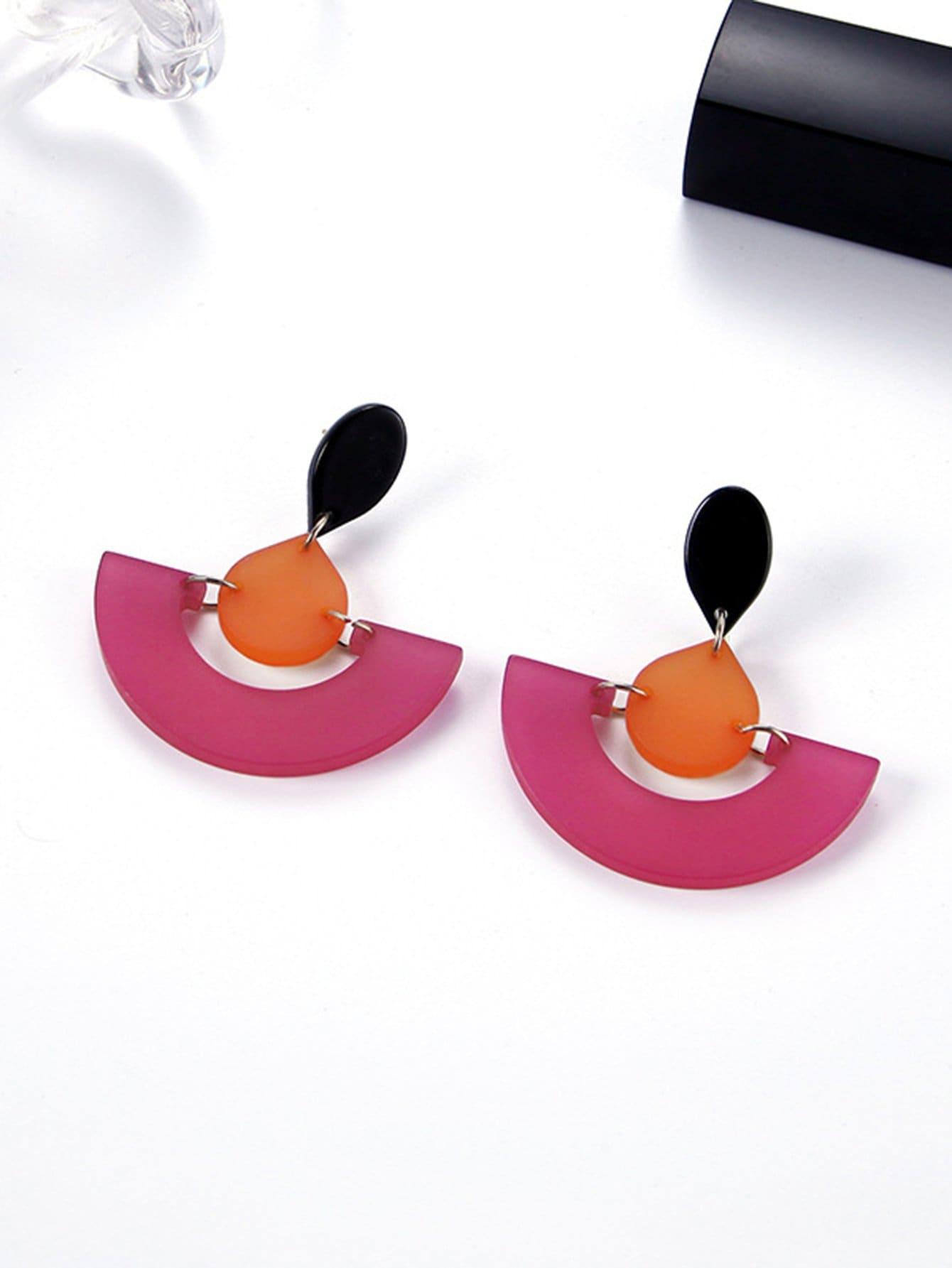 Two Tone Half Round Drop Earrings
