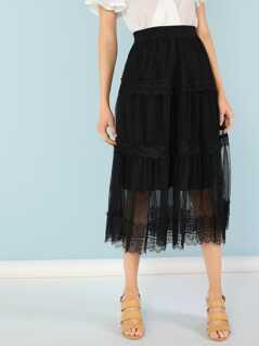 Chiffon Midi Skirt with Lined Lace