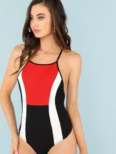 Color Block Ribbed Knit Bodysuit