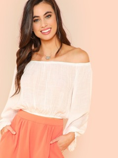 Sheer Off Shoulder Bishop Sleeve Blouse