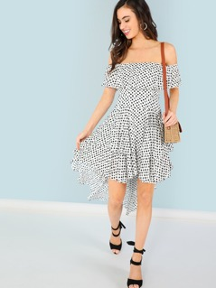 Polka Dot High Low Ruffle Dress