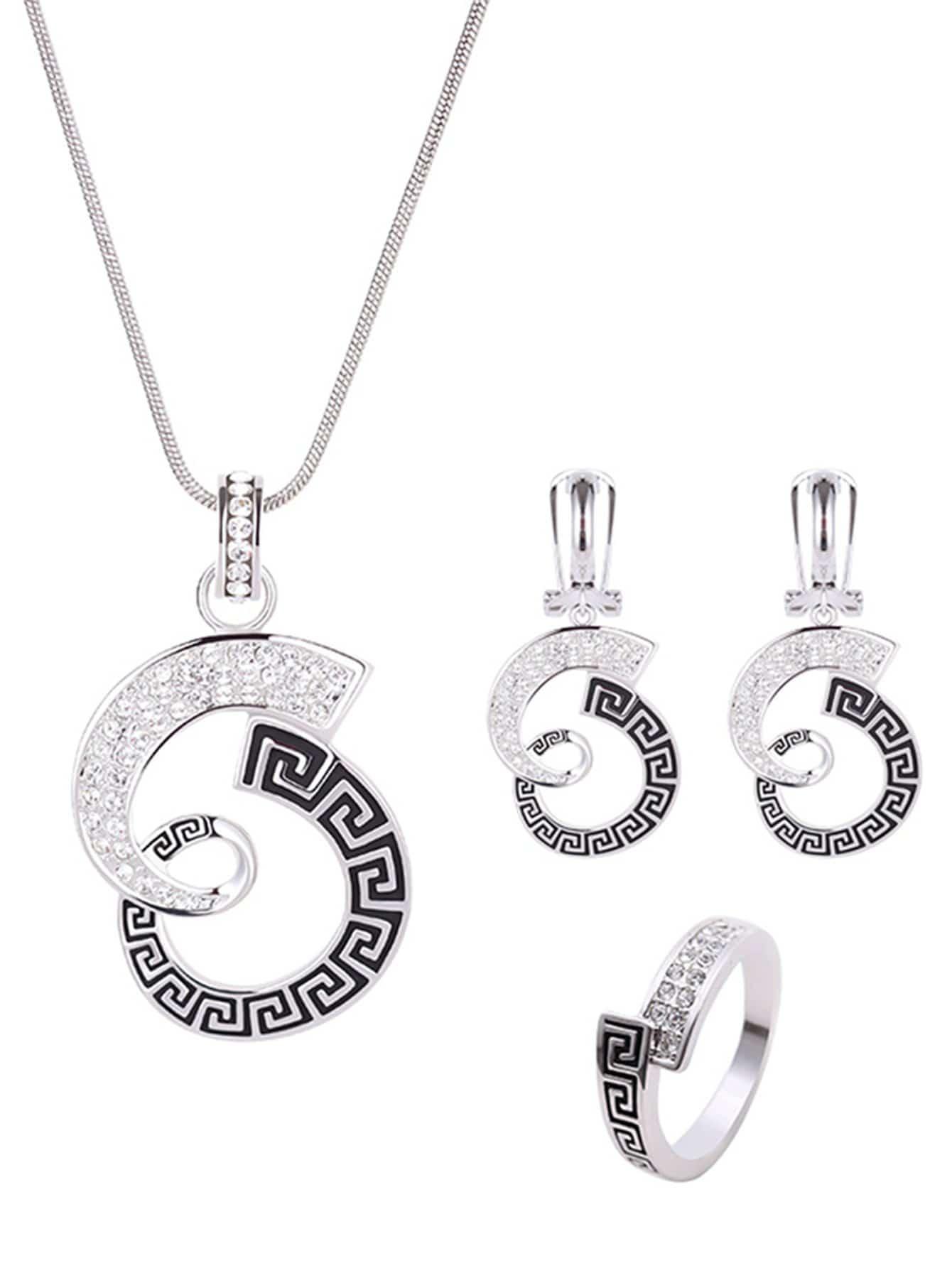 Halskette mit Anhänger, Ohrringe mit Ring Set