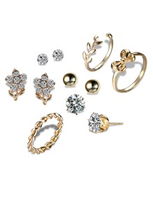 Flower Stud Earrings 4pairs & Ring 3pcs
