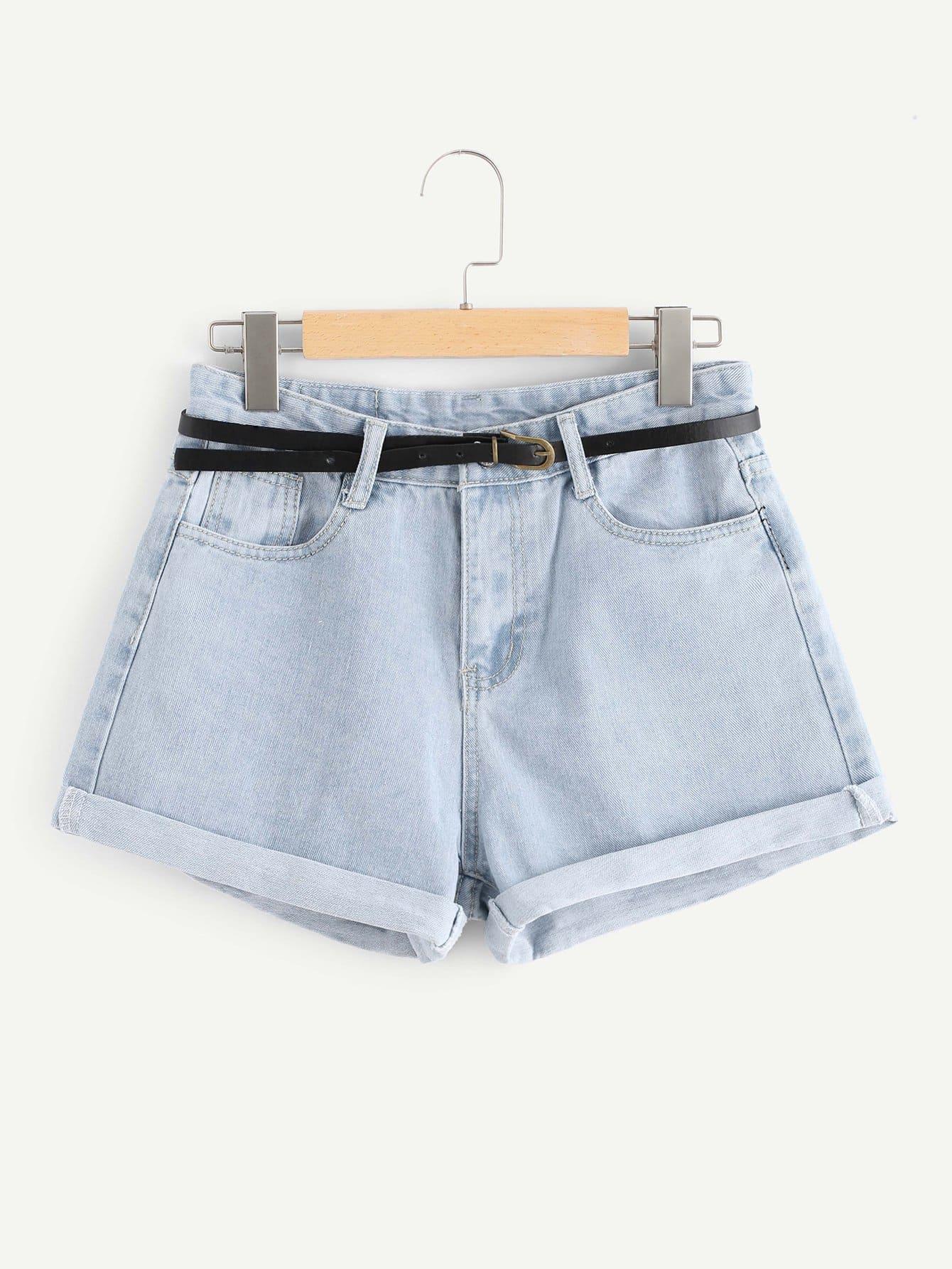 Купить Roll Up Hem Джинсовые шорты с поясом, null, SheIn
