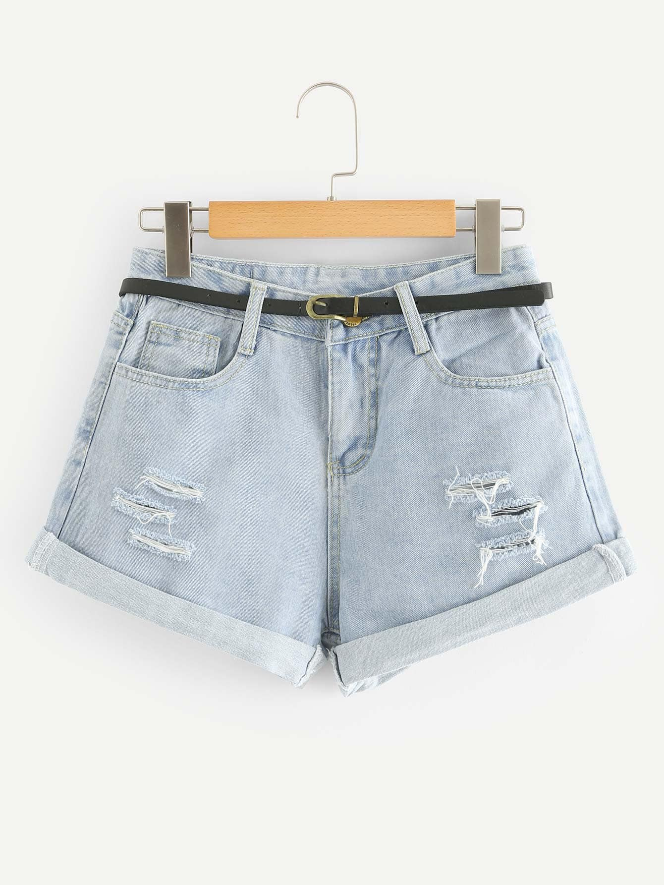Roll Up Hem Ripped Denim Shorts With Belt цена 2017