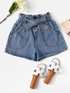Ruffle Waist Button Fly Denim Shorts with Belt