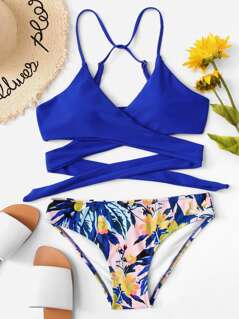 Criss Cross Top With Floral Print Bikini Set Set