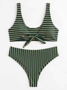 Knot Front Striped Bikini Set