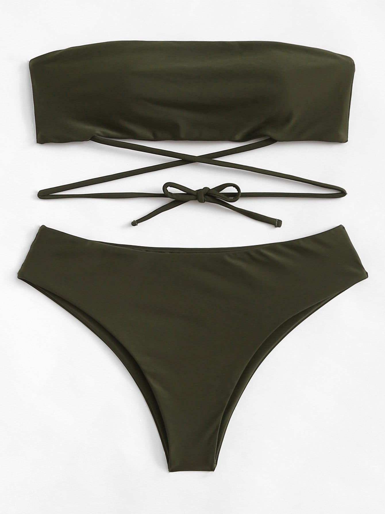 Купить Плюс Plain Bandeau Bikini Set, null, SheIn