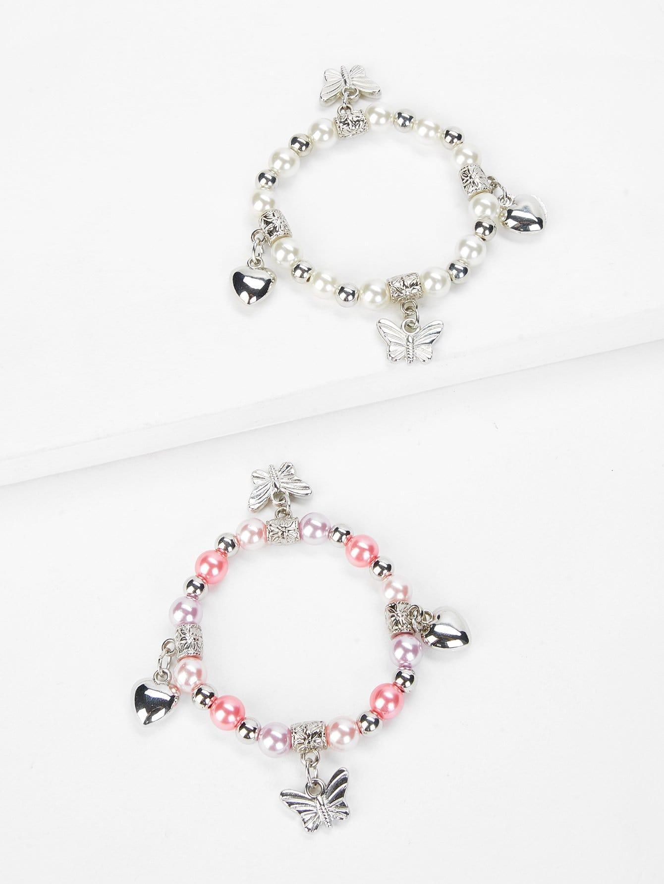 Heart Charm Beaded Bracelet dull polished mixed beaded bracelet