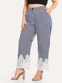 Plus Lace Hem Striped Pants