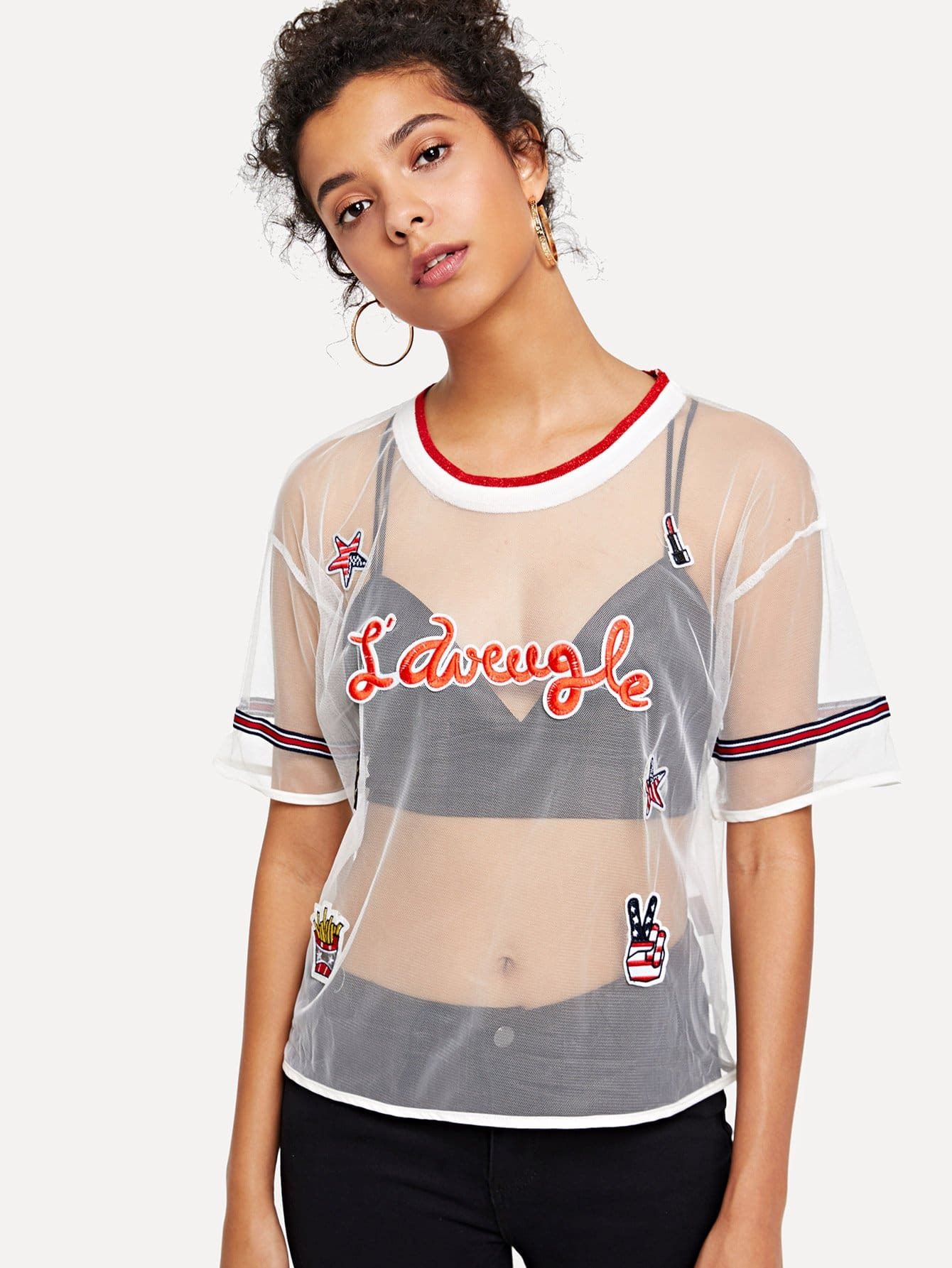 Купить Прозрачная блузка с вышивкой и полосками, Starl Lane, SheIn