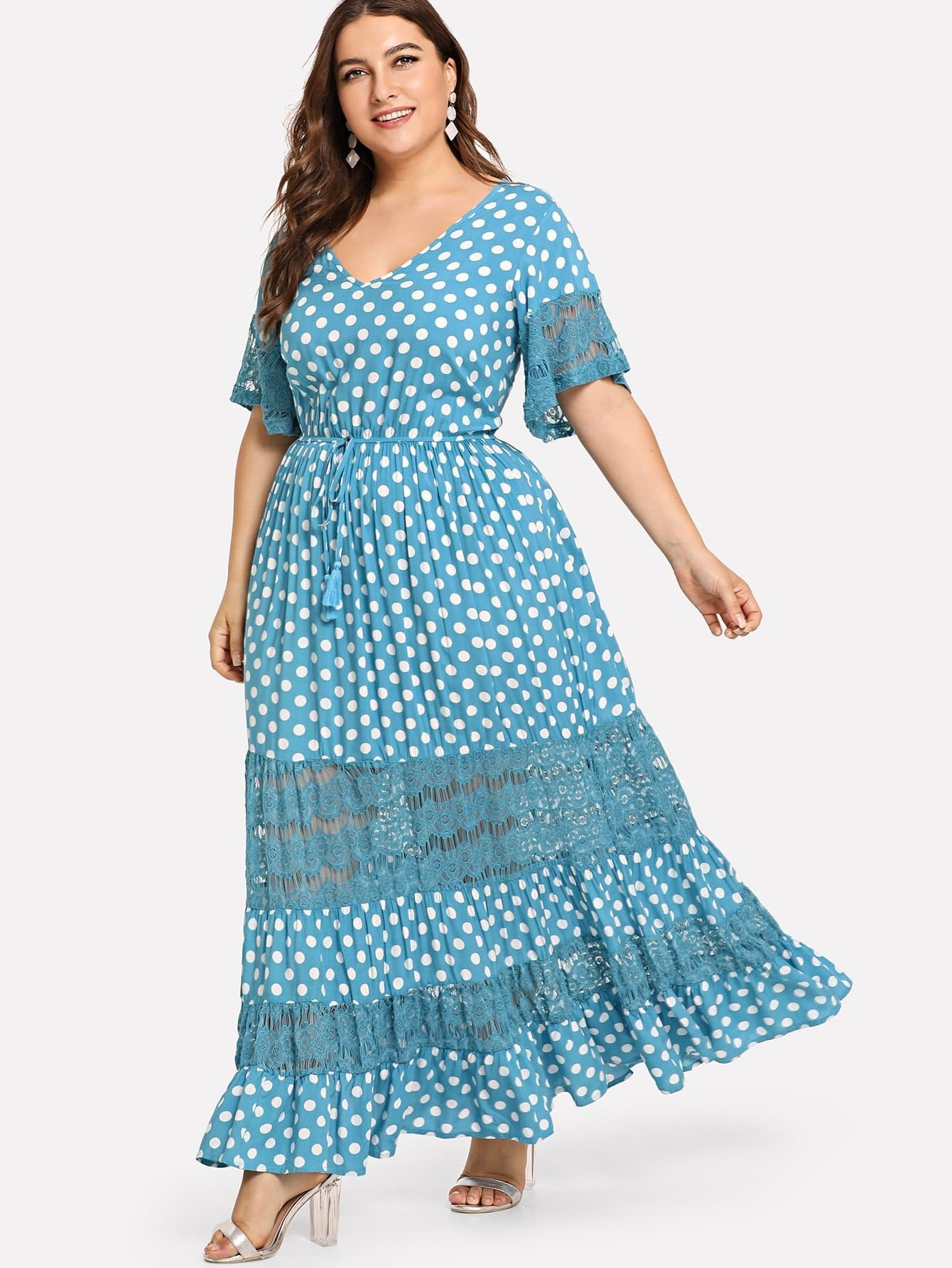 Plus Lace Insert Bell Sleeve Polka Dot Dress plus size mesh insert polka dot dress