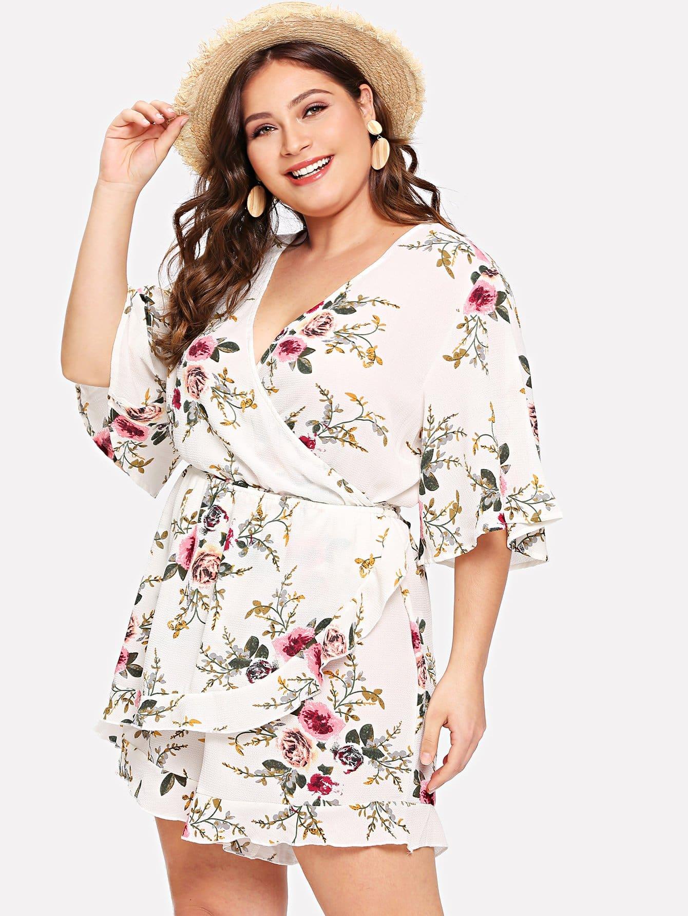 Купить Обрежьте шею с надписью Ruffle Hem Floral Romper, Carol, SheIn