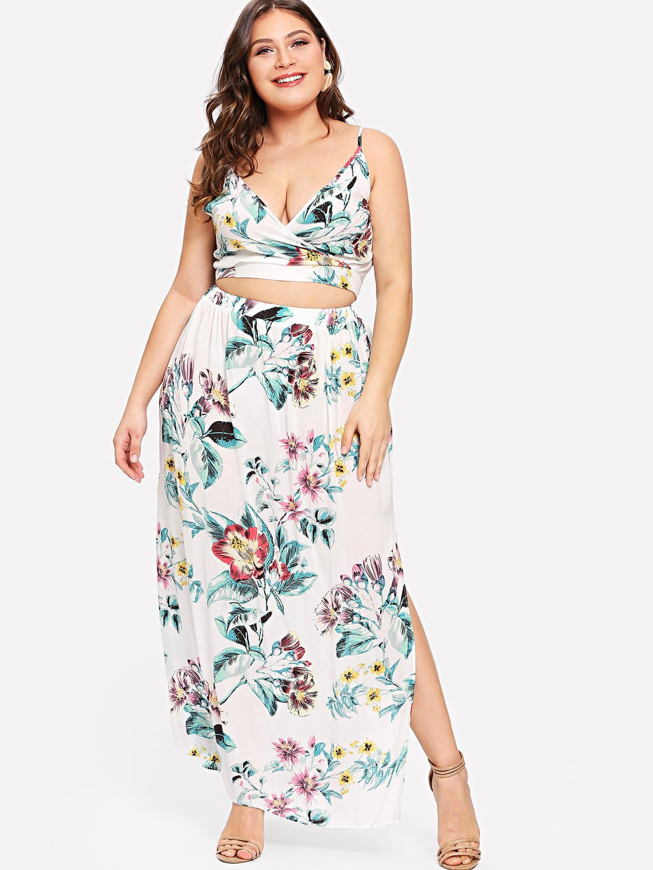 Plus Surplice Neck Floral Cami Top & Skirt Set surplice neck ribbed cami top