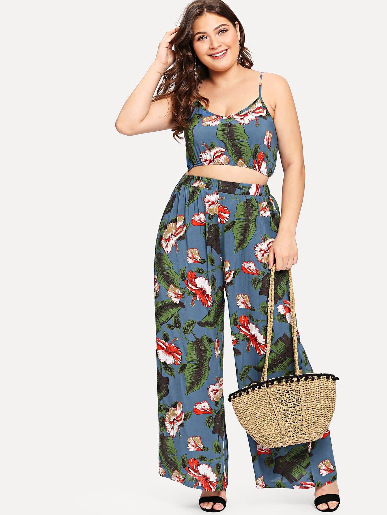 Plus Tropical Print Crop Cami & Wide Leg Pants Set tropical print cami with pants