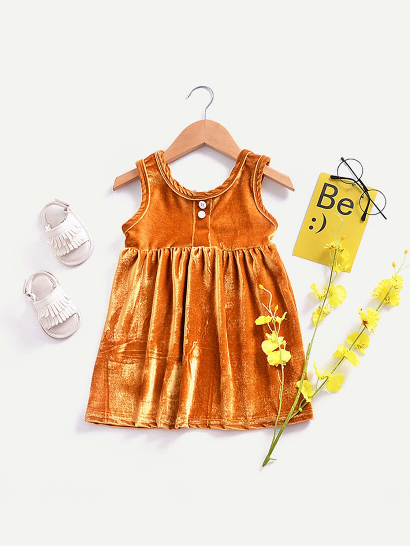Girls Button Detail Pleated Dress