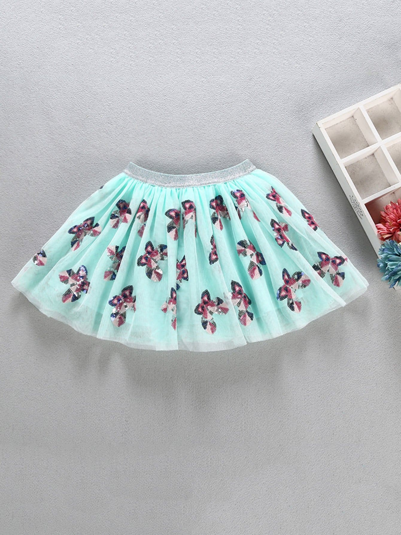 Girls Contrast Sequin Butterfly Pattern Mesh Skirt