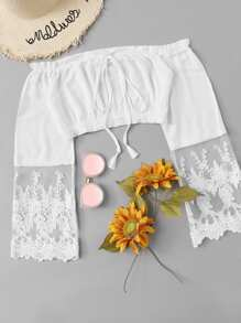 Contrast Lace Drawstring Off The Shoulder Blouse