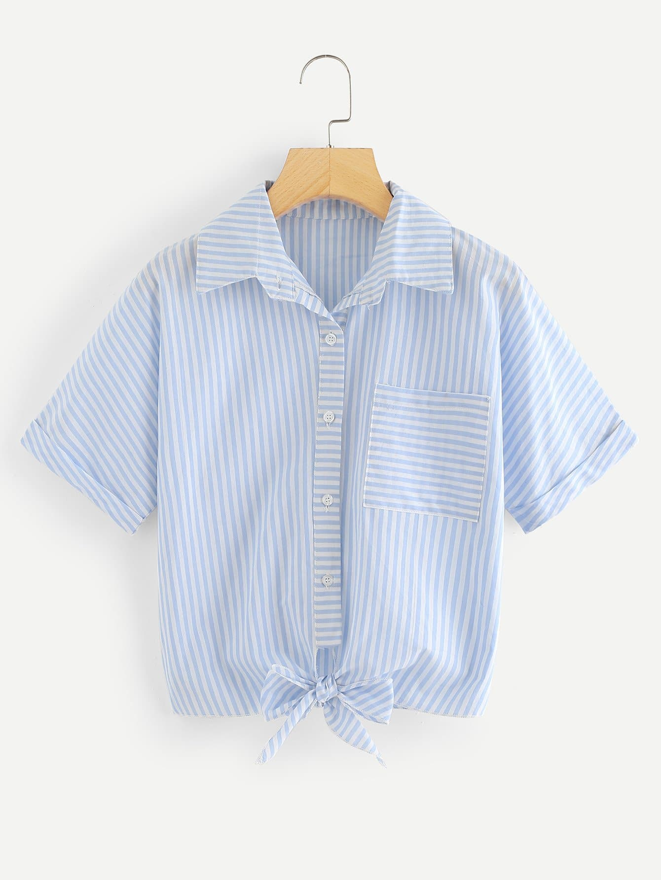 Striped Single Breasted Pocket Knot Front Blouse
