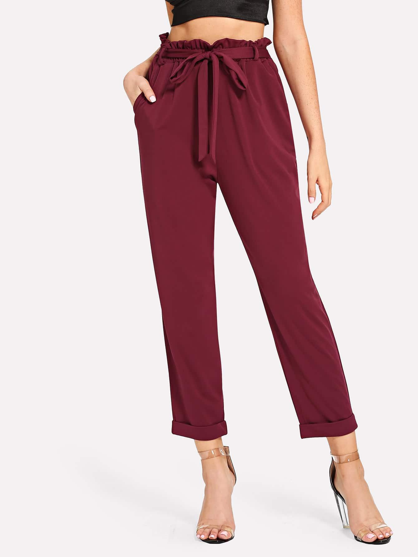 Belted Frill Pocket Pants