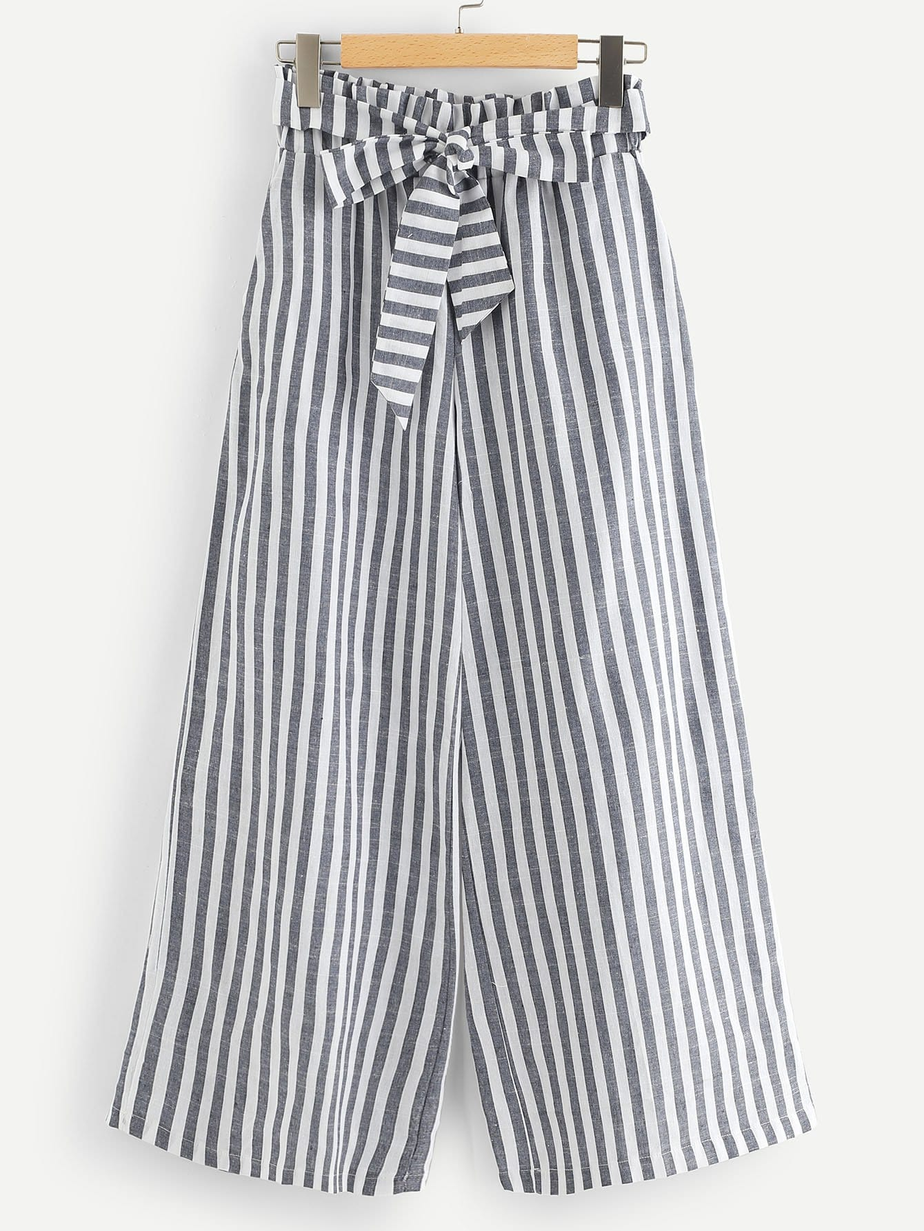 Striped Frill Pocket Belted Pants
