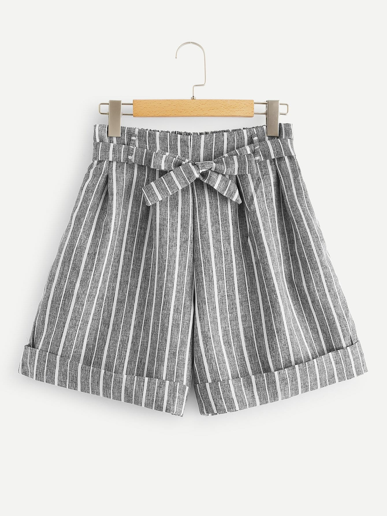 Rolled Hem Striped Shorts With Belt