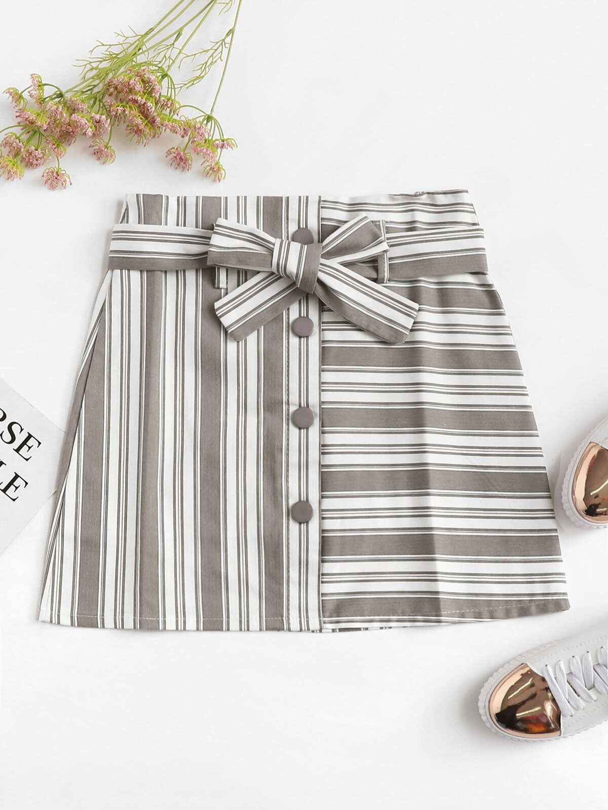 Striped Single Breasted Belted Skirt