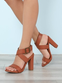 Criss Cross Strap Single Band Chunky Heel
