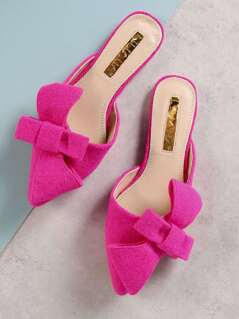 Bow Detailed Pointed Toe Slides