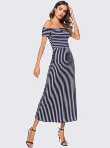 Lettuce Trim Off Shoulder Striped Dress
