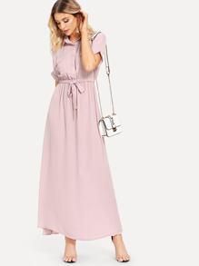 Drawstring Waist Dual Pocket Dress