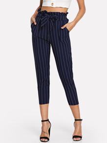 Ruffle Waist Self Tie Capri Pants